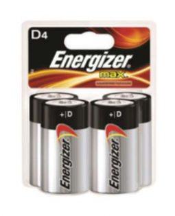 Four Energizer D batteries