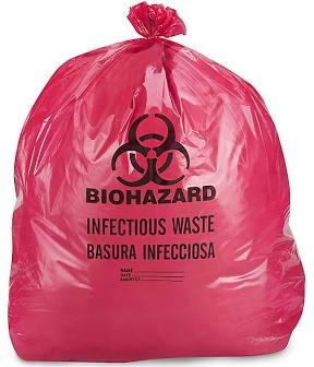 Full red biohazard trash bag