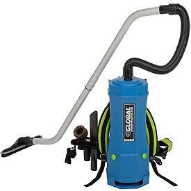 Blue vacuum backpack with a hose attached