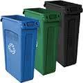 Blue, green, and black trash bins in a line