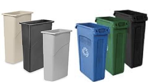 Tan, black, grey, blue, and green slim jim trashcans