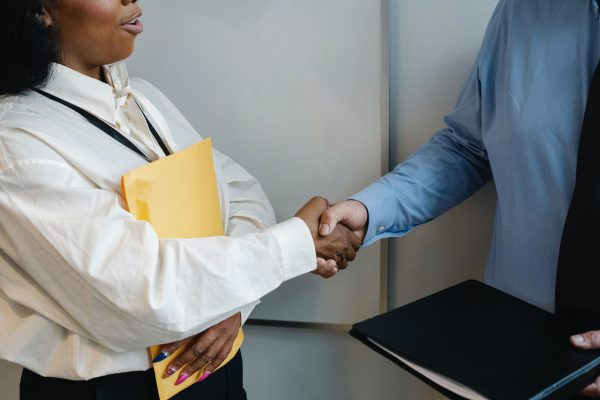 Shaking hands with facility service provider